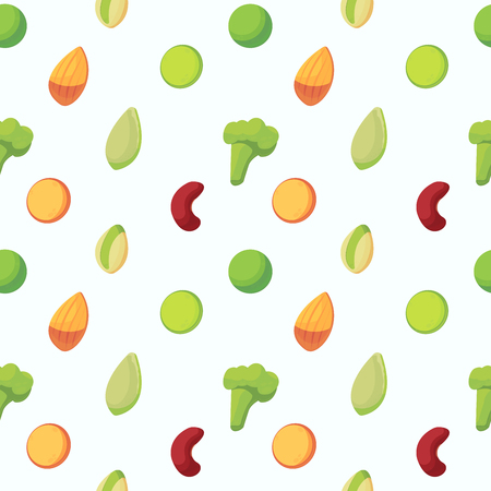 Seamless pattern with high protein vegan food . Almond, lentils, , pistachio, pumpkin seeds, broccoli, pea and red bean. Vector flat style. Food background