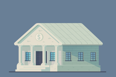 Bank building. Administrative financial state institution for the storage of money and other valuable property. Vector illustration.