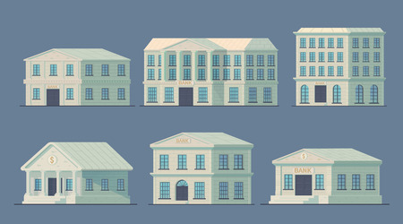 Set of bank building in the city. Bank building to serve the public and conduct financial and credit operations. Vector illustration.