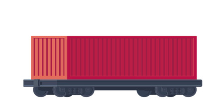 Train container on railway car. Rail freight. Vector illustration. Stock Photo