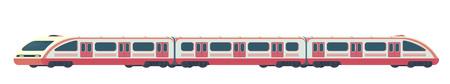Passanger modern electric high-speed train. Railway subway or metro transport. Underground train Vector illustration flat style. Illustration