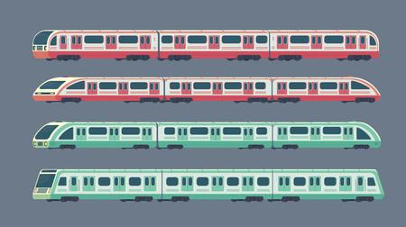 Conjunto de tren de alta velocidad eléctrico de pasajeros. Metro ferroviario o transporte por metro. Estilo plano de la ilustración del vector del tren subterráneo.