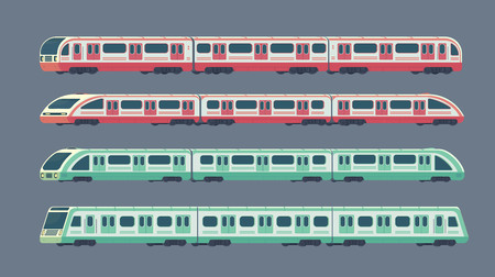 Set of passanger electric high-speed train. Railway subway or metro transport. Underground train Vector illustration flat style.