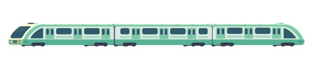 Passanger modern electric high-speed train. Railway subway or metro transport. Underground train Vector illustration flat style.
