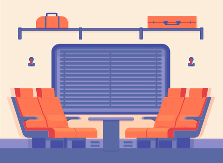 Interior of a modern passenger train inside. Traveling by train along the rail road in comfort. Vector flat style illustration.