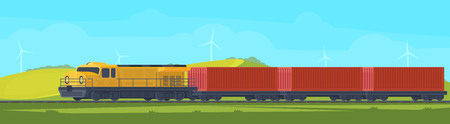 Freight train with container on railway car. Transportation by railroad. Nature landscape in a hilly area. Vector flat illustration. Imagens