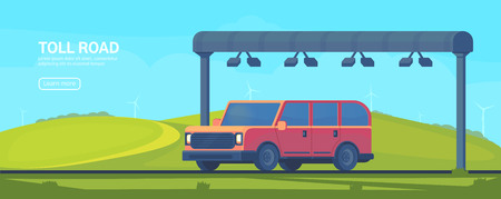 Wireless automated toll collection gate on highway. Checkpoint on the toll road. Web banner. Vector flat illustration. Vector Illustration