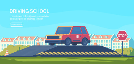 Driving school. Practical testing of maneuvers and exercises to improve driving skills. Flat vector illustration.