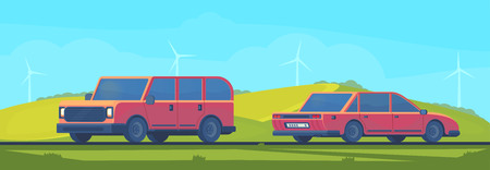 Flat vector illustration of outdoor summer or spring landscape with car on road. Trip by car. Banco de Imagens