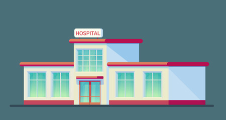 Medical hospital building. City center for medical care for patients. Emergency hospital. Flat vector style illustration.