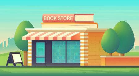 Book shop store building in cityscape with books in the form of signs. Shop building with a glass-glazed storefront. Vector flat style illustration.