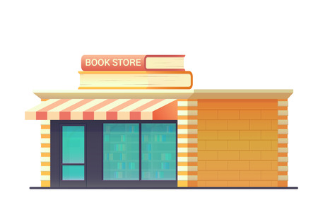 Book shop store building isolated on white background. Shop building with a glass-glazed storefront. Vector flat style illustration.