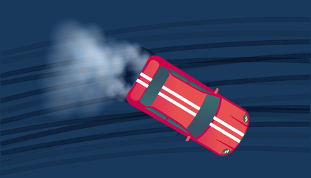 Sport car drifting on race track. Motorsport competition. Top view vector illustration. Illustration