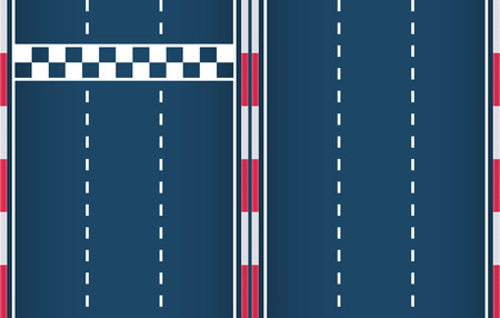 Constructor for race track start-finish line element and lane element. Motorsport background. Vector flat illustration.