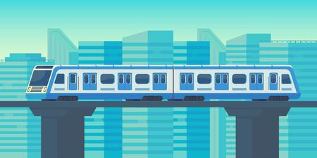 Sky train in movimento verso la stazione in città. Sistema di trasporto rapido di massa. Illustrazione piana di vettore.