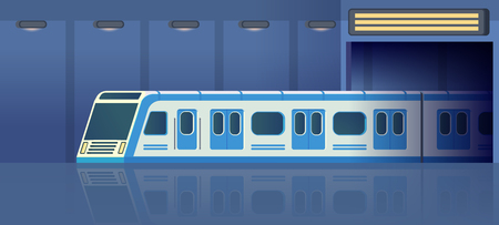 Railway subway or metro transport in tunnel moving on station. Passanger modern electric high-speed train. Underground public transport. Vector flat illustration.