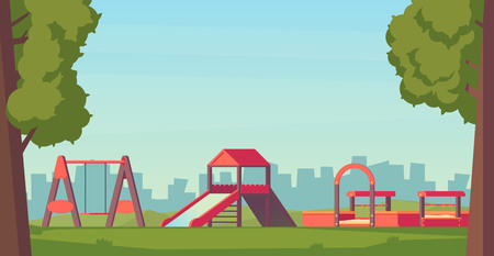 Kids playground or park. Children play complex with slide, swing, and sandbox. Vector illustration.
