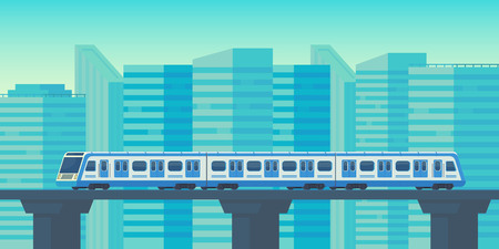 Sky train moving to station in city. Mass rapid transit system. Vector flat illustration.