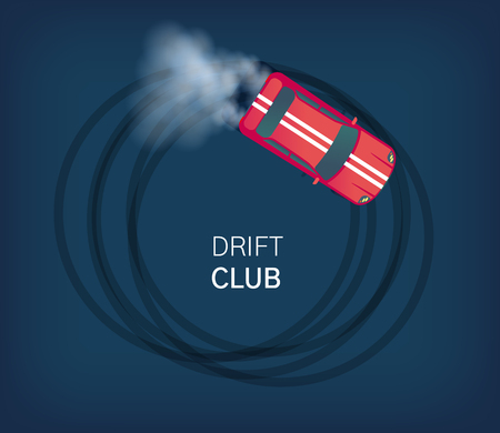 Drift club poster or web banner. Sport car drifting on race track. Motorsport competition. Top view flat style vector illustration.