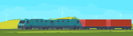 Freight train with container on railway car. Transportation by railroad. Nature landscape in a hilly area.Vector illustration.