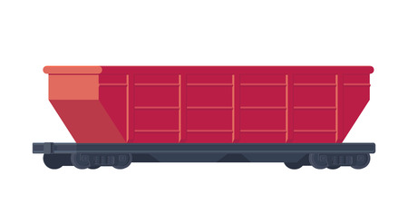 Train railway car from transportation cargo and goods. Rail freight. Vector illustration isolated on white.