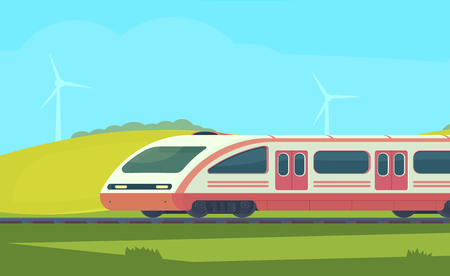 Passanger modern electric high-speed train with nature landscape in a hilly area. Railway transport. Travel by train. Vector flat illustation. Imagens - 117795018