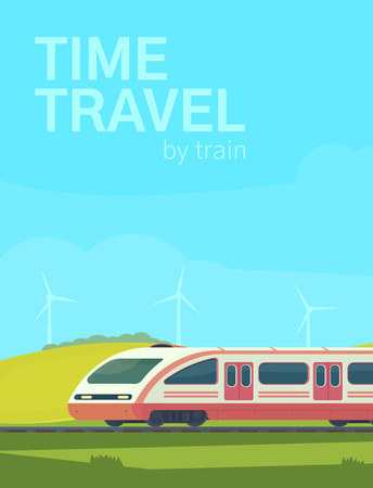 Poster time to travel by train. Passanger modern electric high-speed train with nature landscape in a hilly area. Vector illustation. Railway transport. Ilustração