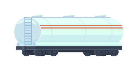Train oil or gasoline tank on railway car. Rail freight. Oil industry Vector flat style illustration isolated on white. Illustration