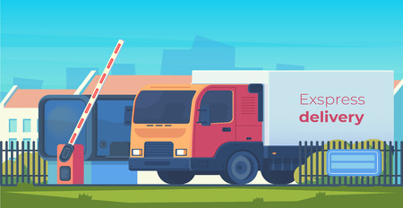 Entry through the barrier which is raised to pass the car. Toll gate with reception booth and delivery truck. Checkpoint to residential area. Vector flat illustration.