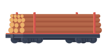 Train railway car for transportation container with raw wood. Rail freight. Forestry industry. Vector illustration. 向量圖像