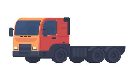 Lorry car. Heavy truck for transportation various objects. Vector illustration isolated on white background.