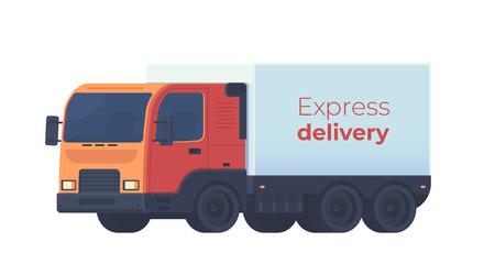 Camion per la consegna delle merci. Servizio logistico. Illustartion di stile piano di vettore isolato su bianco.