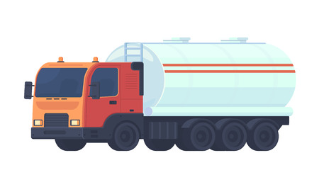 Tank truck transportation, oil, gasoline to gas stations, water and liquid substances. Lorry truck with a reservoir for fluid. Vector flat style illustration. 向量圖像