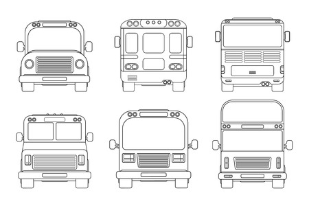 Set of various city bus. Front and back view. Outline vector illustration isolated on white background. School bus. 向量圖像