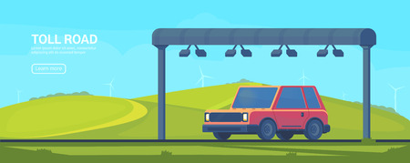 Wireless automated toll collection gate on highway. Checkpoint on the toll road. Web banner. Vector illustration.