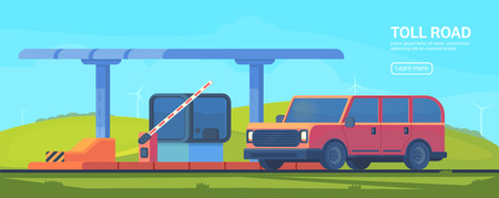 Checkpoint on the toll road. Booth with boom barrier Web banner. Vector illustration.