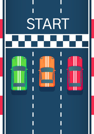 Racing sports cars on start line. Motorsport modern car. Flat style top view vector illustration. Illustration