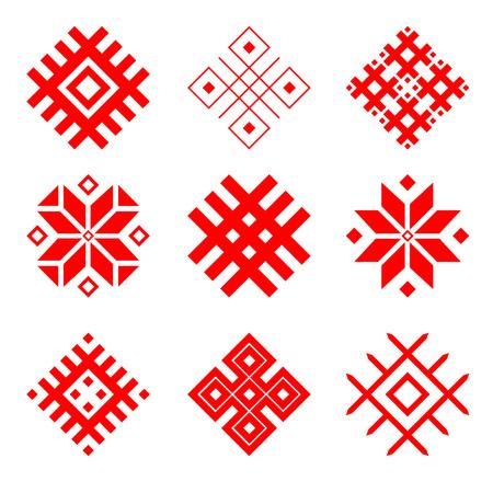 Ensemble d'ornement national biélorusse. Symbole national de la Biélorussie. Motif ethnique slave.