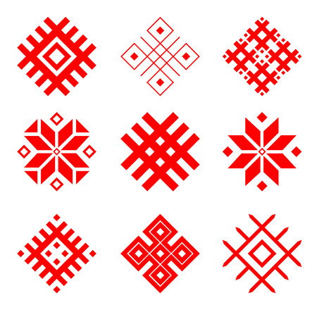 Set of national belarus ornament. National symbal of belarus. Slavic ethnic pattern. Stock Illustratie