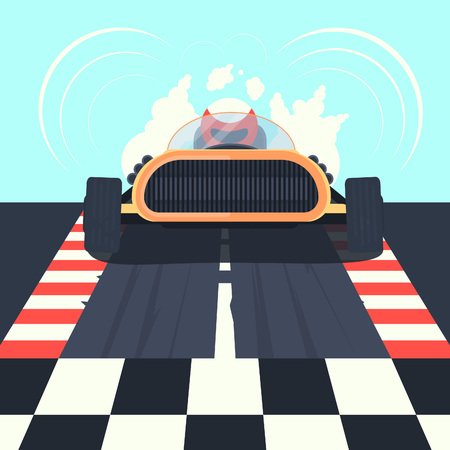 Old retro racing car will go to the finisher race. Vector illustration 向量圖像