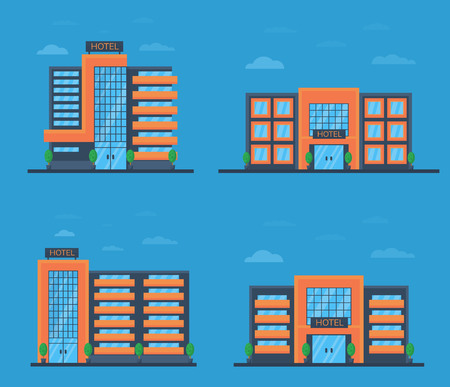 Set of hotel or office building in flat style. Front facade view. Vector illustration. 向量圖像
