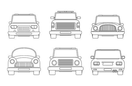 Conjunto de diferentes tipos de coche urbano. Ilustración de vista frontal y posterior. Coche compacto, servicio de remolque pick up, SUV, vehículo moderno y antiguo. Estilo lineal.