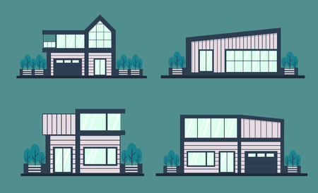 Set of modern house . Front facade view vector illustration