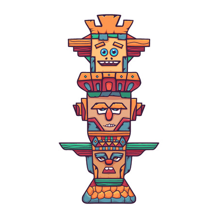 Colorful wooden totem pole. A wooden column on a stone pedestal, with various emotional expressions. Vector linear flat illustration. Hand draw style.