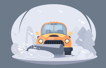 Process of snow removal from road. Pick up truck with snowplow. Winter highway service. Flat vector illustration
