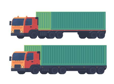 Deux camions avec une semi-remorque et un conteneur maritime pour la livraison de marchandises. Prestation logistique. Vector illustration plat isolé sur blanc.
