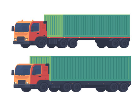 Two truck with a semi-trailer and sea container for the delivery of goods. Logistic service. Vector flat illustartion isolatedon white. 版權商用圖片 - 126447619