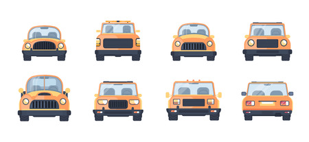 Set of different types of urban car. Front and back view illustration. Compact car, service tow pick up, SUV, modern and vintage vehicle. Flat style.