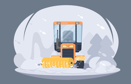Process of snow removal from road. Tractor with snowplow brush. Winter highway service. Flat vector illustration