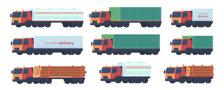 Set of lorry truck for a logistics company for land transportation of various goods fuel, wood, gasoline, timber, containers. Vector flat illustration. 向量圖像